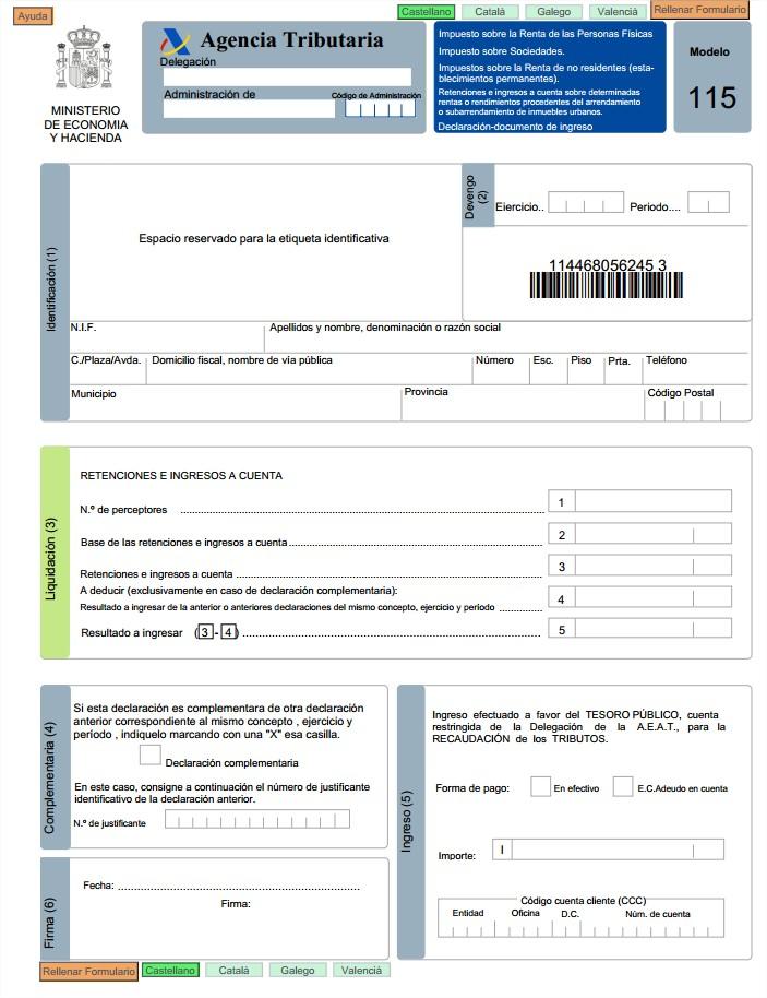 Modelo 115: Retenciones por alquileres | Apuntes Contables